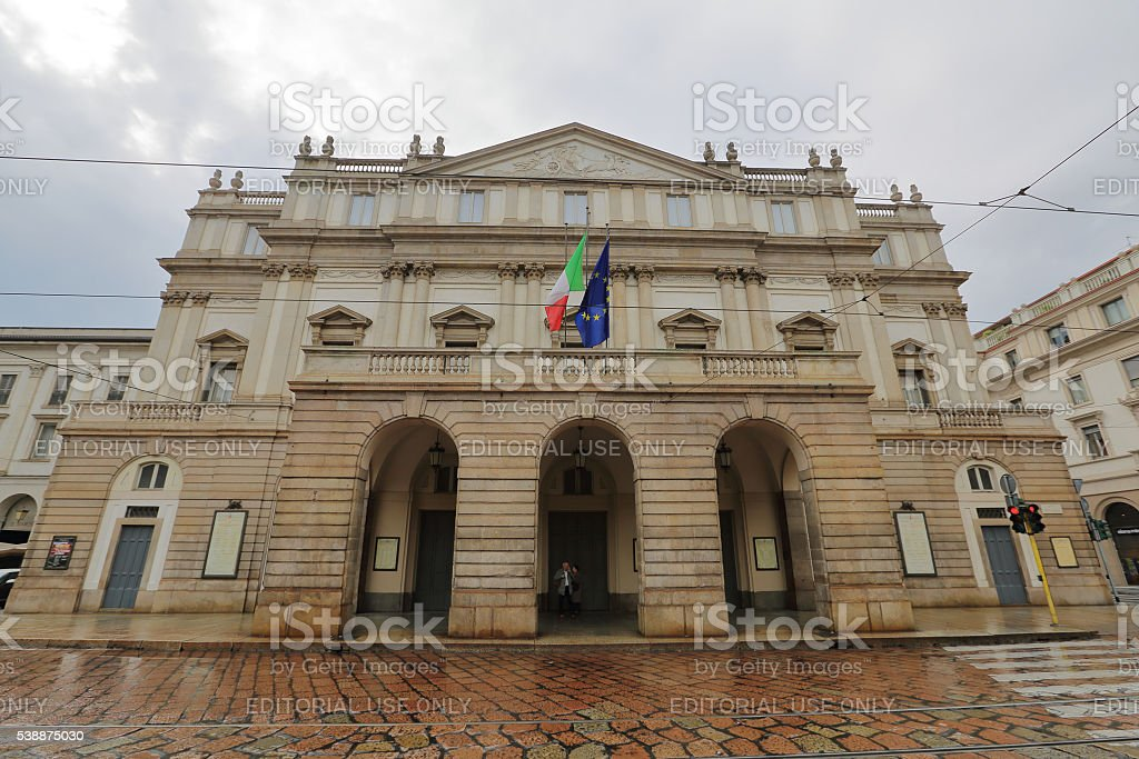 Facade of the La Scala theater, Milan, Italy stock photo