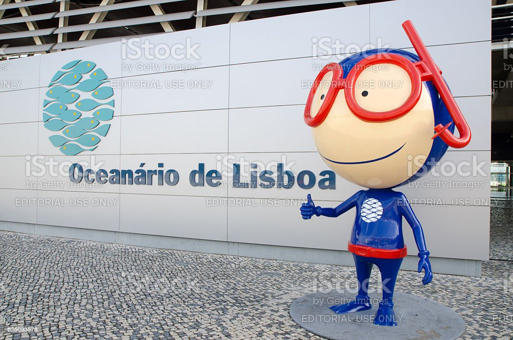Facade of the Lisbon Aquarium with its mascot stock photo