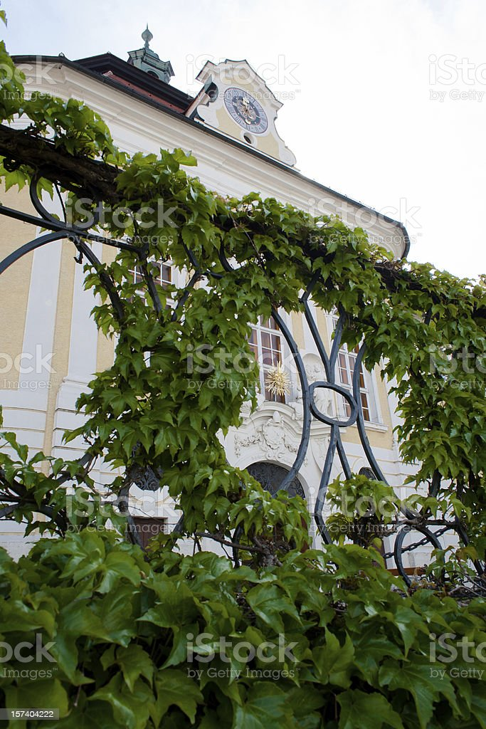 Facade of the monastery Seitenstetten ivy wreath royalty-free stock photo