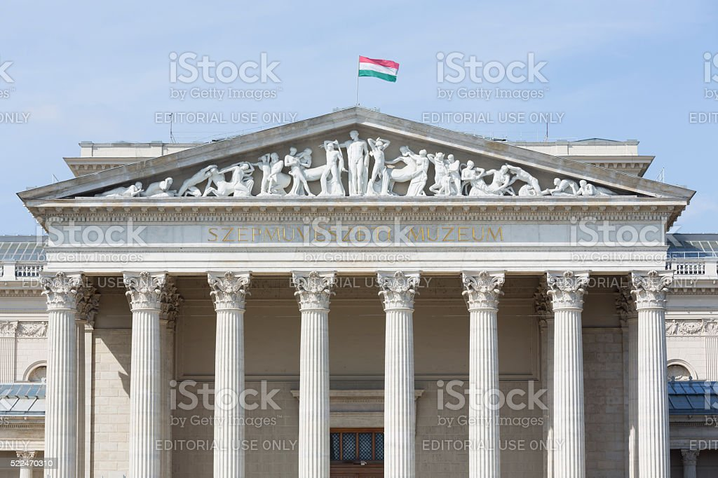 Facade of the Museum of Fine Arts in Budapest stock photo