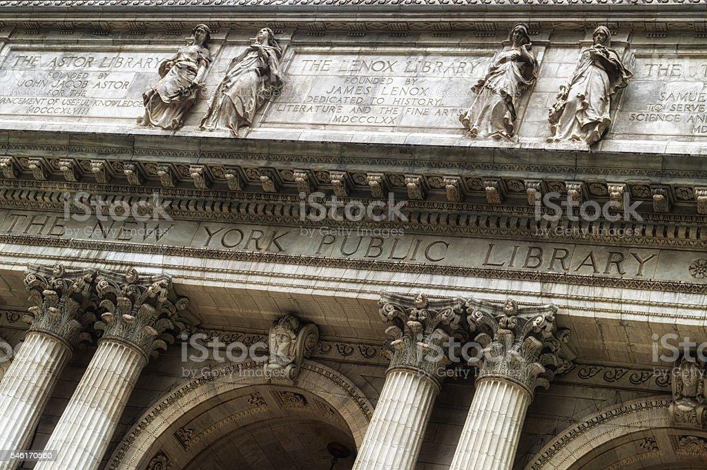 Facade of the New York Public Library stock photo