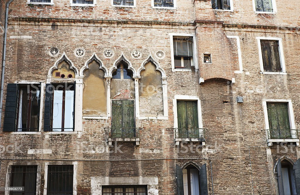 Facade of the old building in Venice royalty-free stock photo