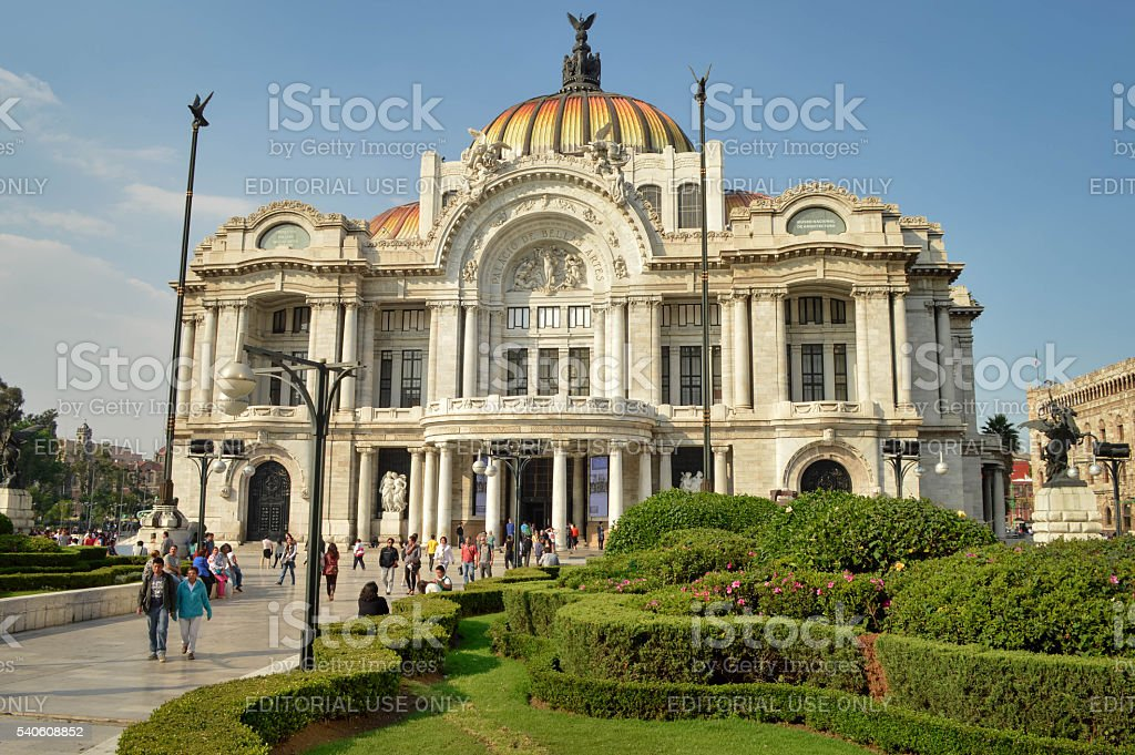 Facade of the Palace of Fine Arts in Mexico City stock photo