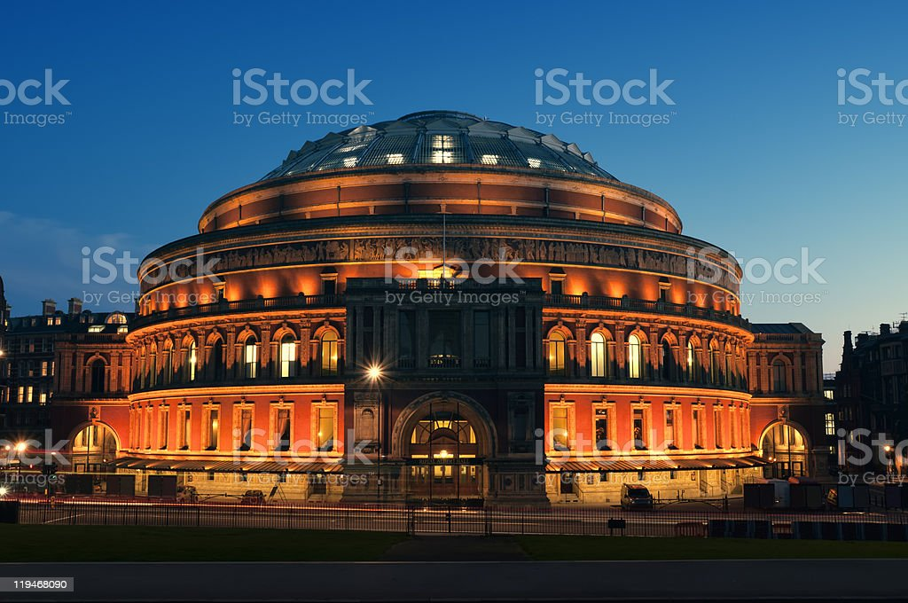 Facade of The Royal Albert Hall in London at night stock photo