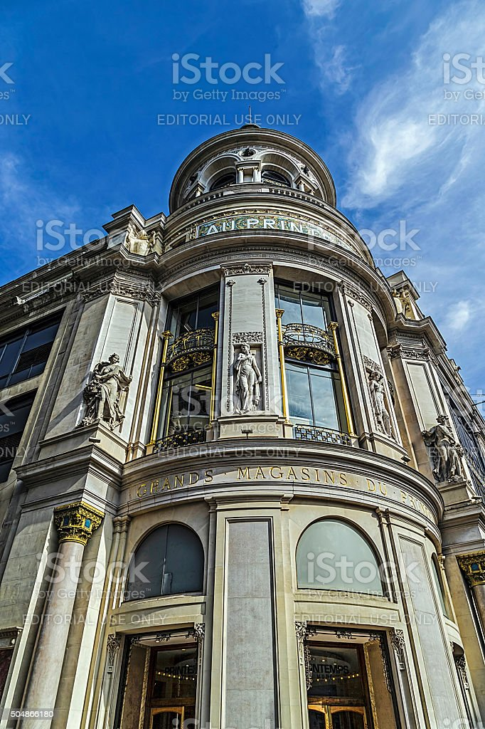 Facade of the store Printemps in Paris stock photo