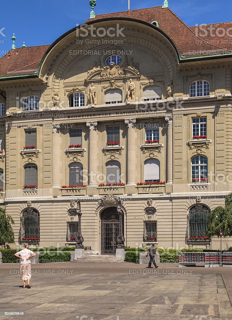 Facade of the Swiss National Bank building in Bern stock photo