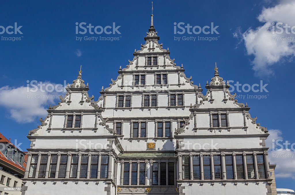 Facade of the town hall of Paderborn stock photo