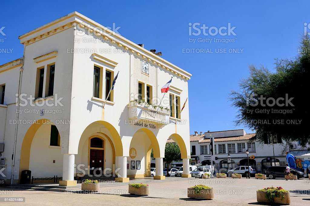 facade of the town hall of the French town of Saintes-Maries-de-la-Mer stock photo