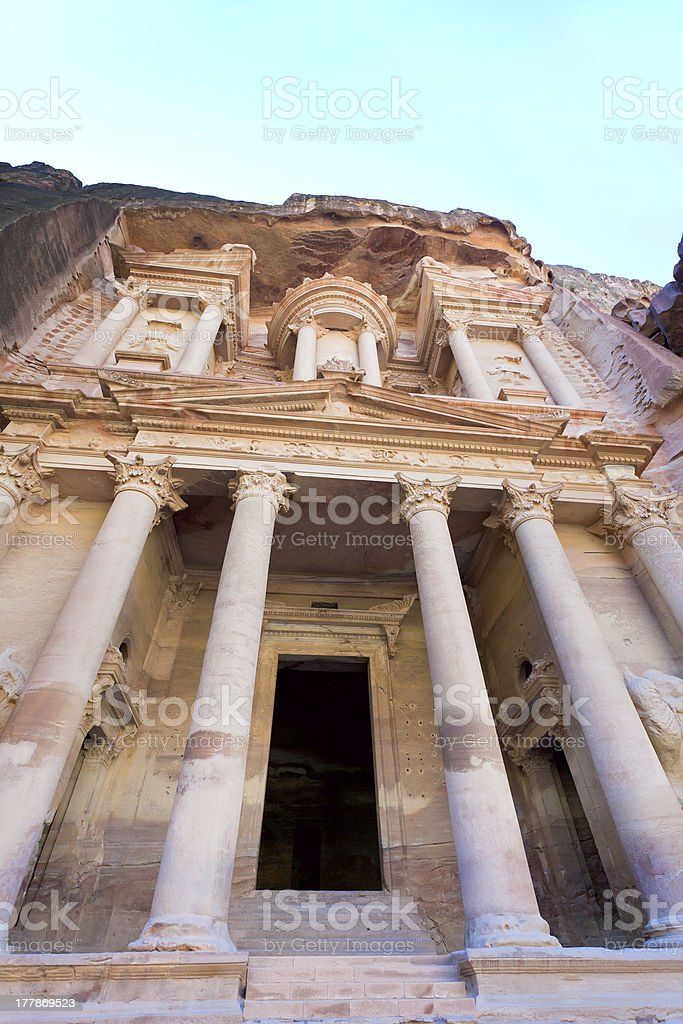 facade of The Treasury Monument in antique city Petra royalty-free stock photo