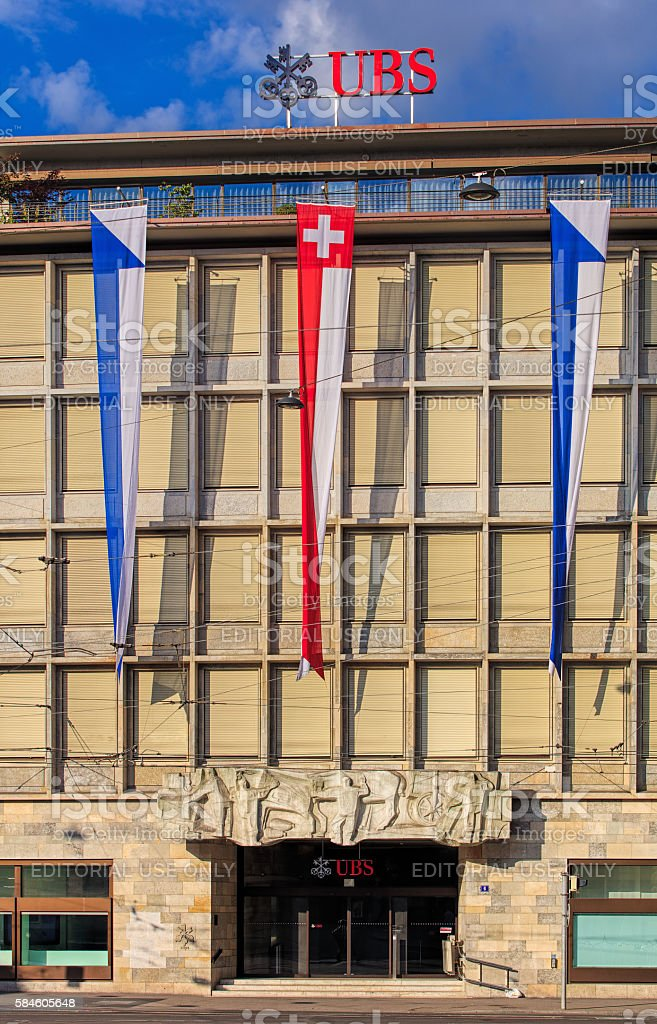 Facade of the UBS building on Paradeplatz square in Zurich stock photo