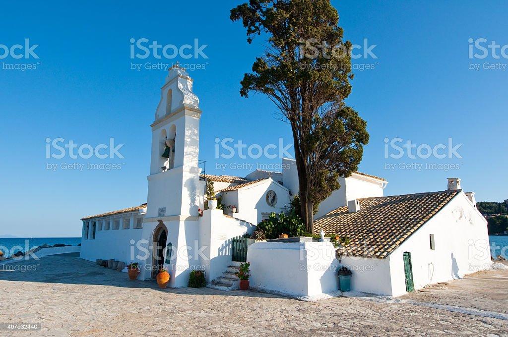 Facade of the Vlacheraina monastery. Corfu island, Greece. stock photo