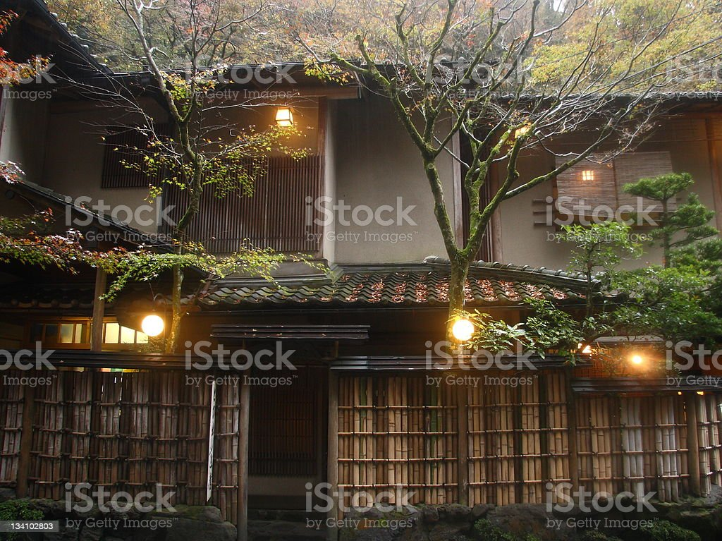 Facade of traditional japanese inn (ryokan) stock photo