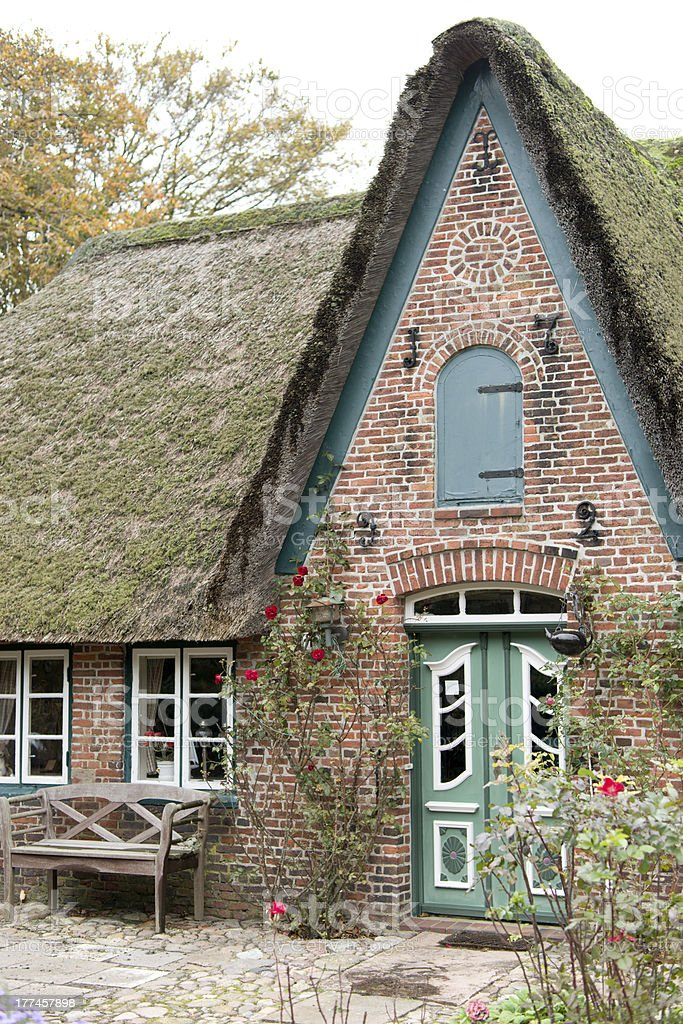 Facade of typical traditional home on island Sylt, Germany stock photo