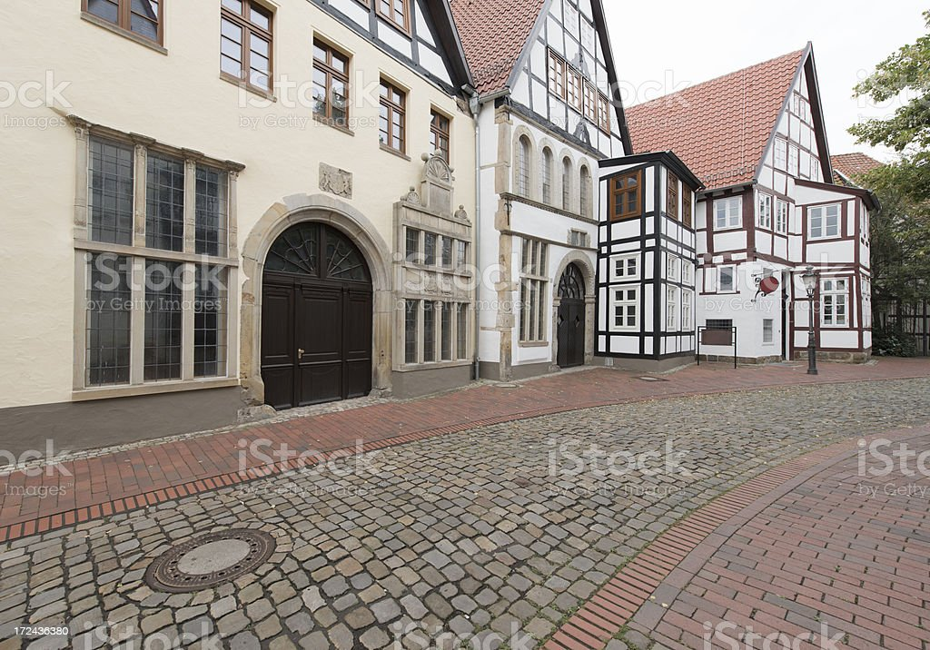 Facade of typical traditional homes in North Rhine Westfalia stock photo