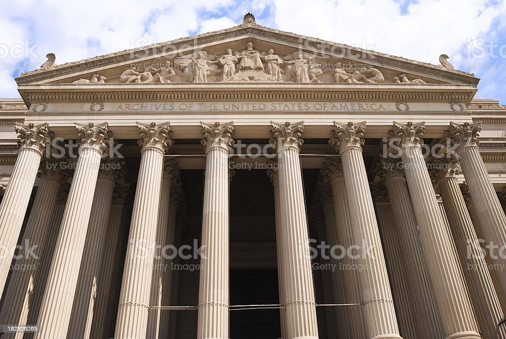 Facade of United States National Archives building in Washington DC royalty-free stock photo