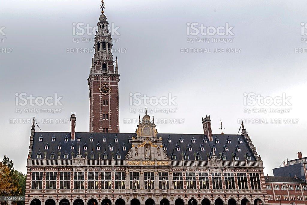 Facade of University library of Leuven, Belgium stock photo