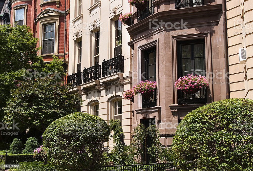 Facade of Victorian brownstones in Boston, MA royalty-free stock photo