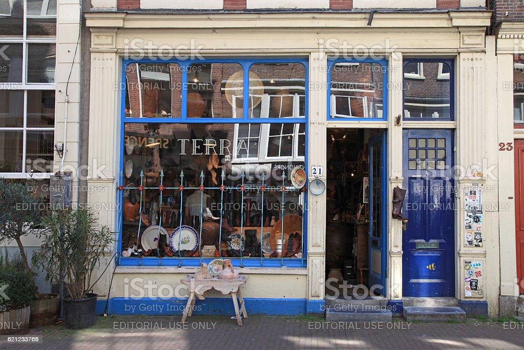 Facade of vintage shop in Amsterdam, Netherlands. stock photo