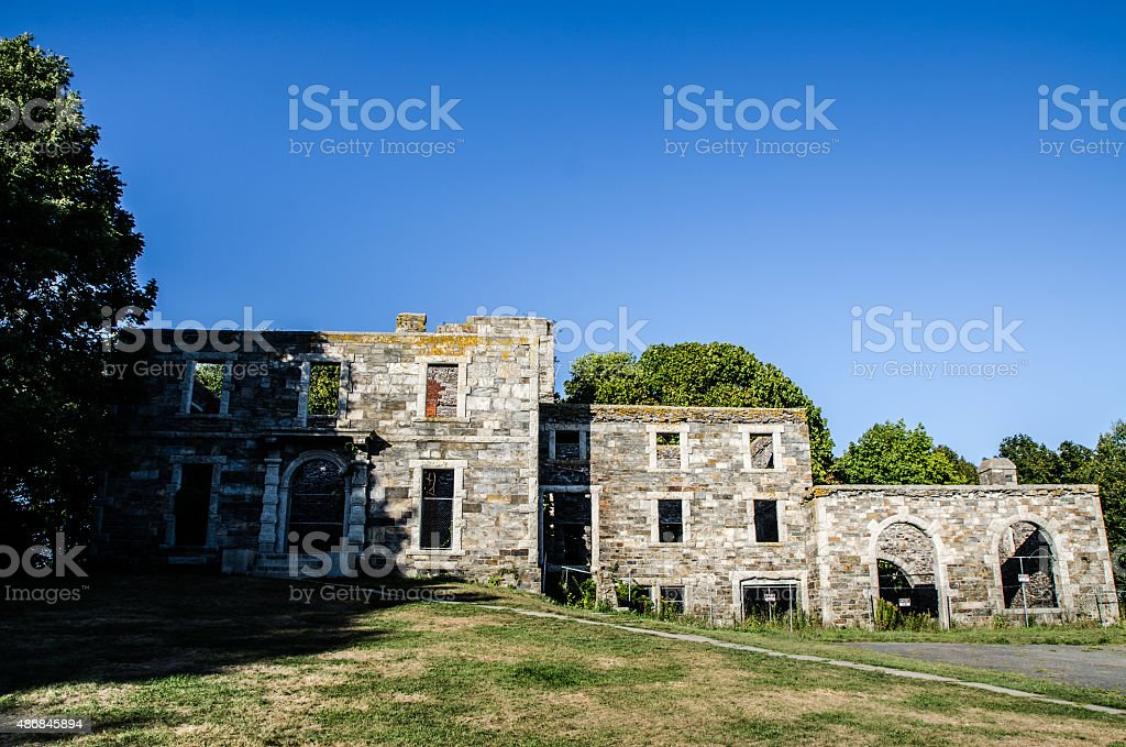 Facade ruins in Fort Williams - Portland Maine stock photo