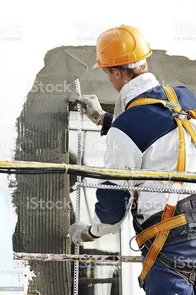 facade stopping and surfacer works royalty-free stock photo