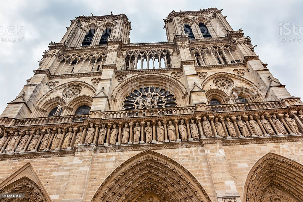 Facade Towers Overcast Notre Dame Cathedral Paris France stock photo