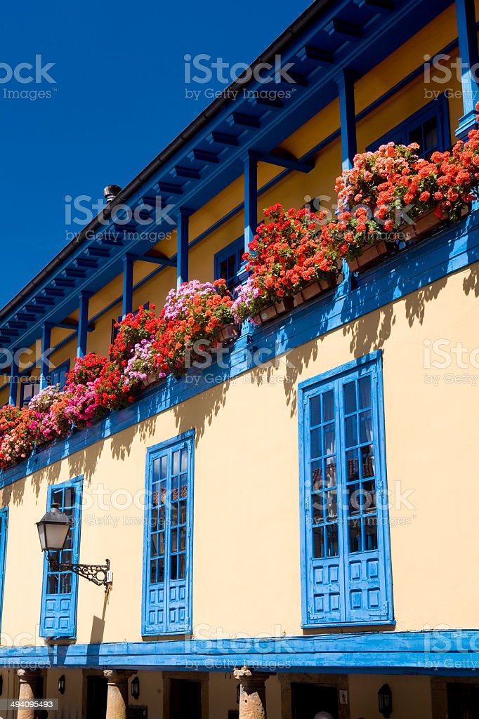 Facade with flowers stock photo