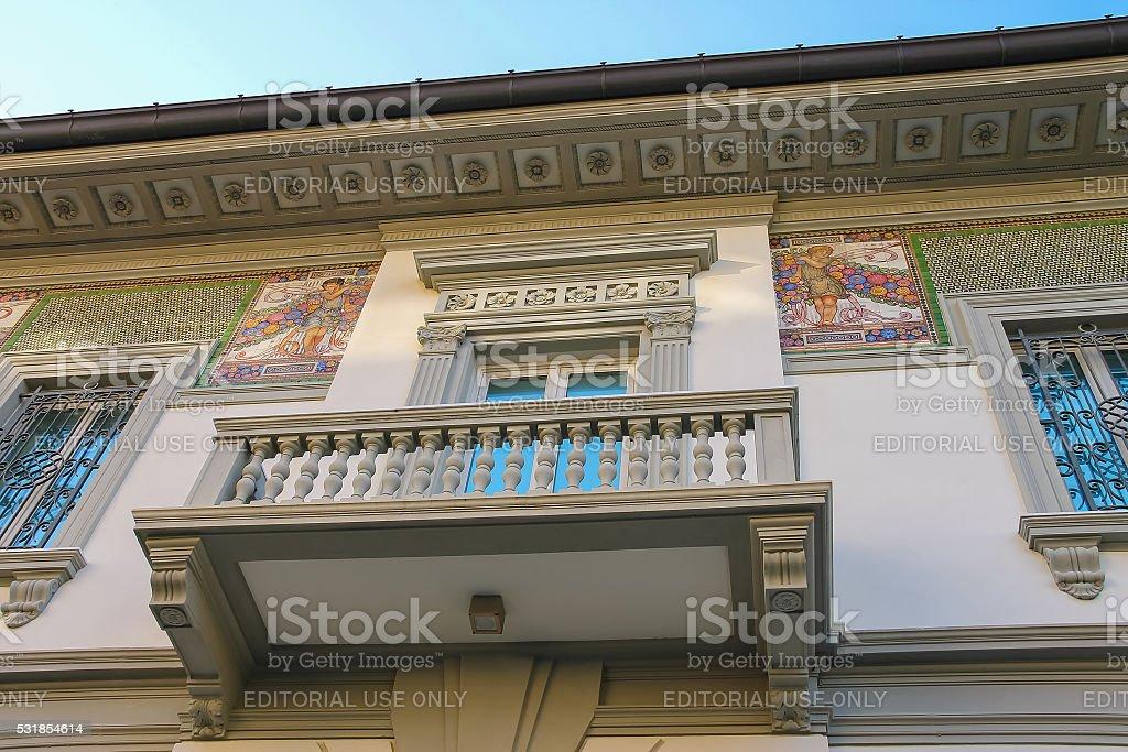 Facade with fresco of old-style design house in Viareggio, Italy stock photo