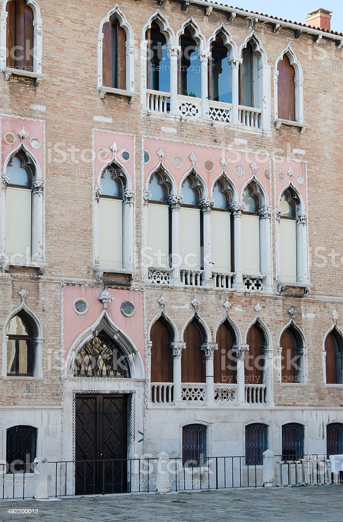 facade  with ornamental windows , Venice, Italy stock photo