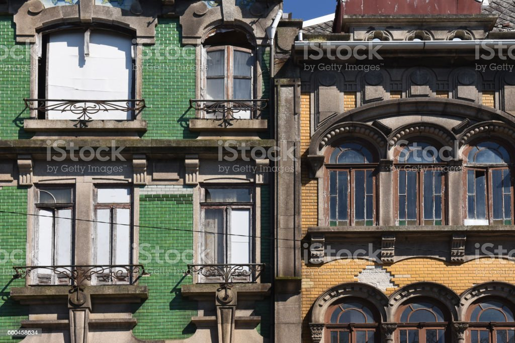 Facade with tiles in Porto, Portugal stock photo