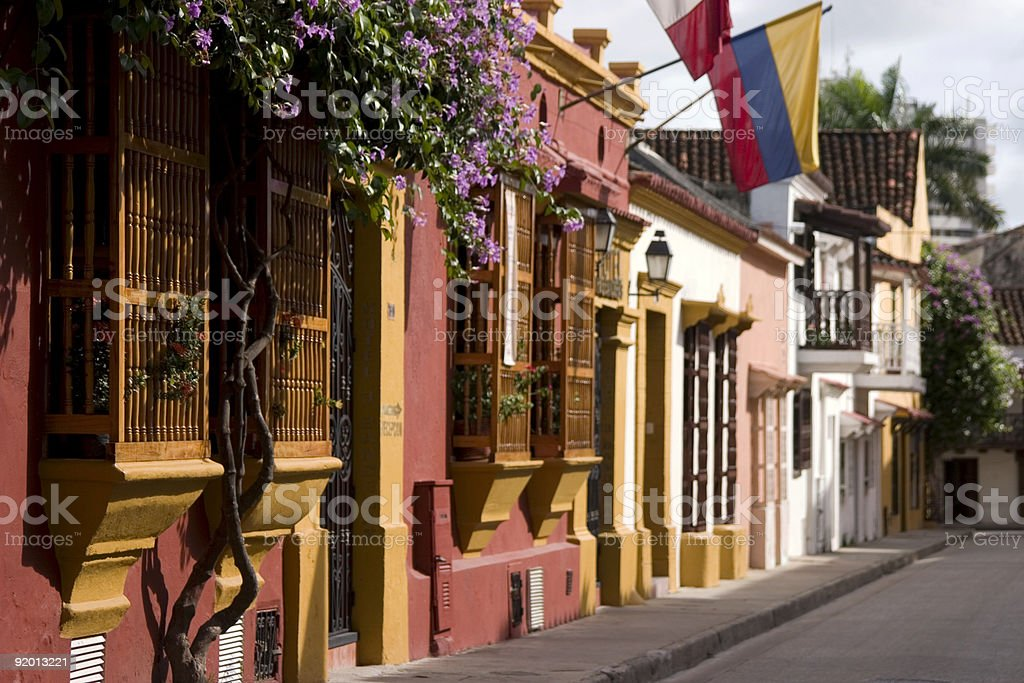 Facades and Balconies in Cartagena royalty-free stock photo