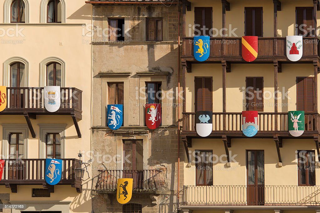 Facades decorated for the Palio stock photo