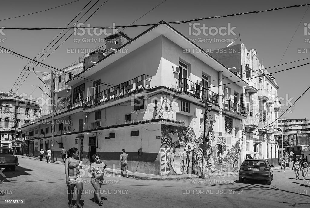 Facades of Callejon De Hamel, Havana stock photo