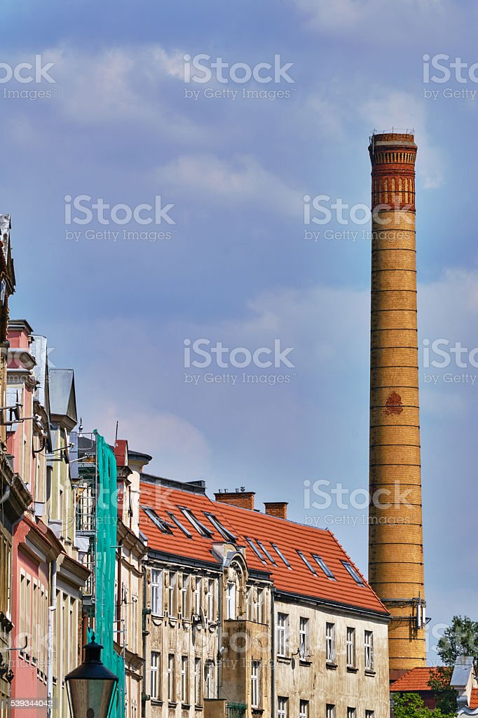 Facades of houses and chimney stock photo