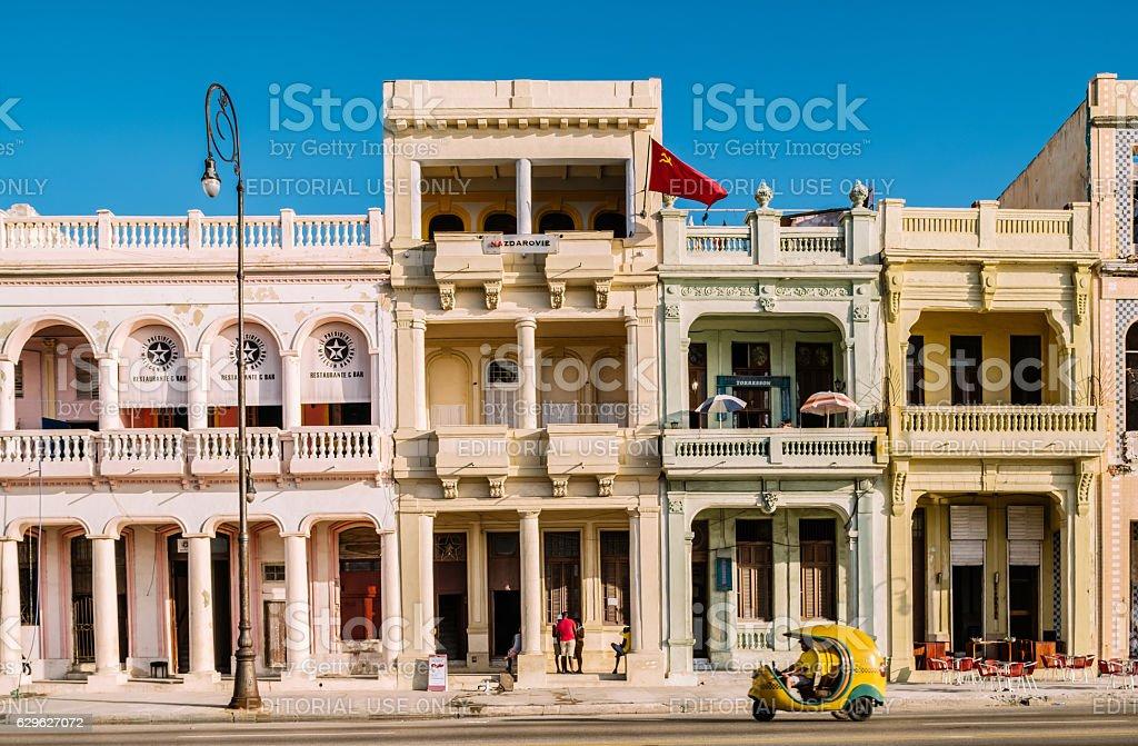 Facades of Malecon stock photo