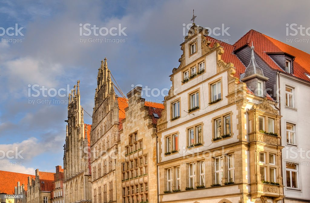 Facades of Munster buildings in Germany stock photo