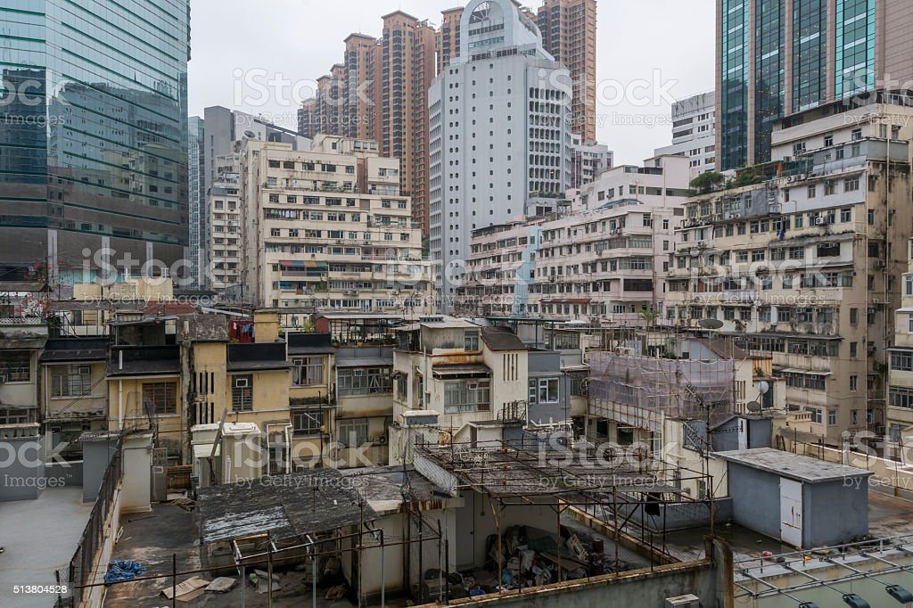 Facades of old apartment buildings in Hong Kong stock photo