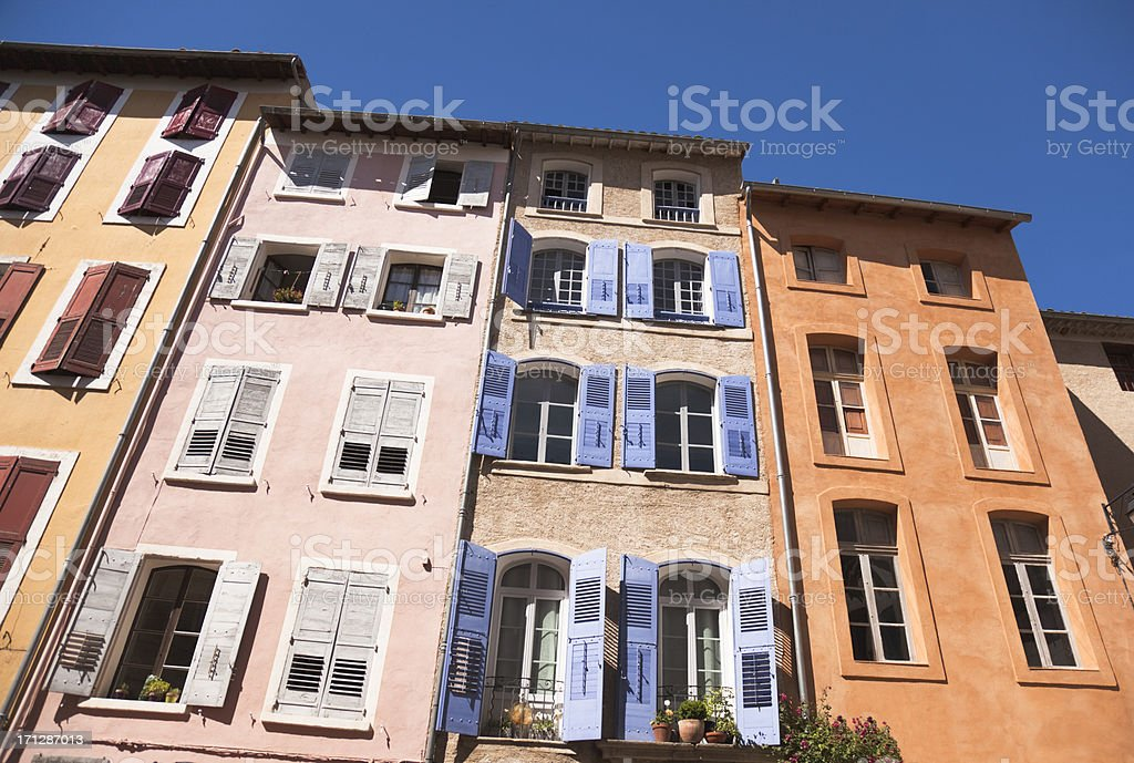 Facades of old buildings in Provence stock photo