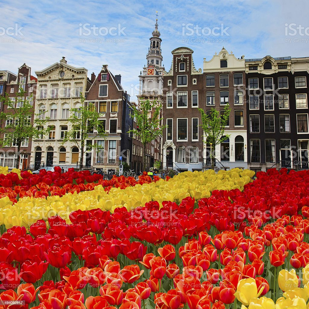 facades of old houses , Amsterdam, Netherlands stock photo