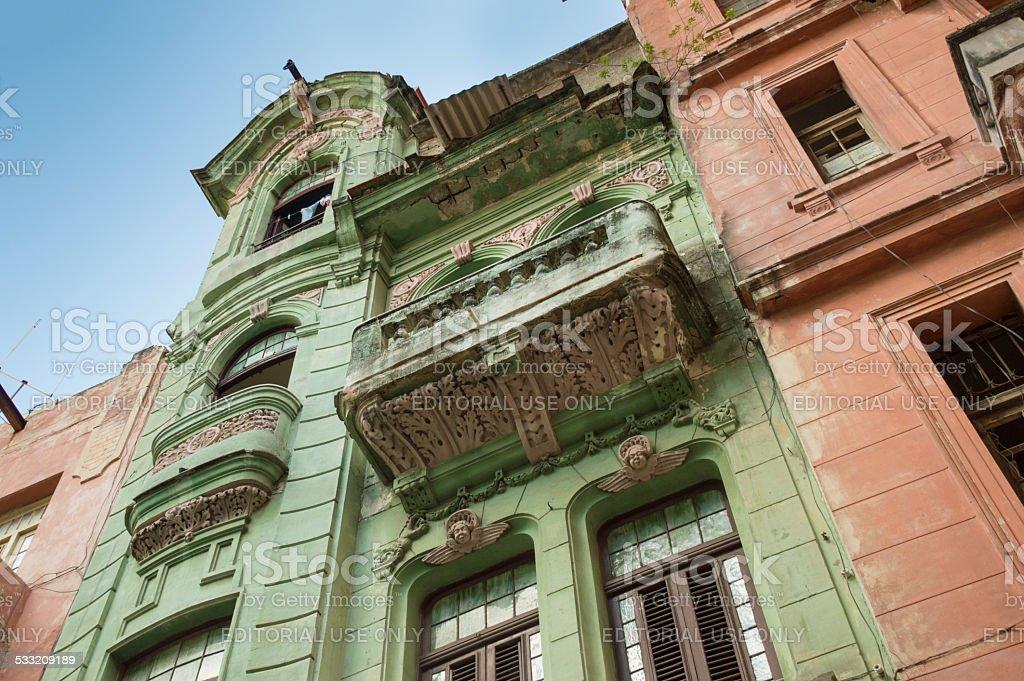 Facades of old houses in Havana, Cuba stock photo