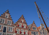 Facades of old houses in the harbor of Hoorn