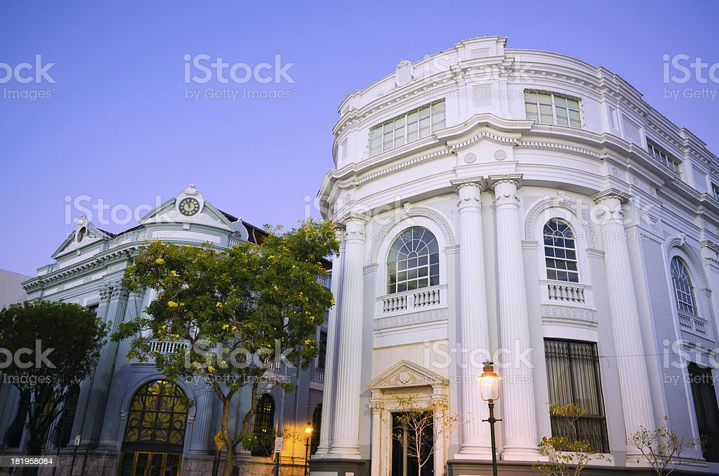 Facades of two bank buildings in Ponce, Puerto Rico royalty-free stock photo