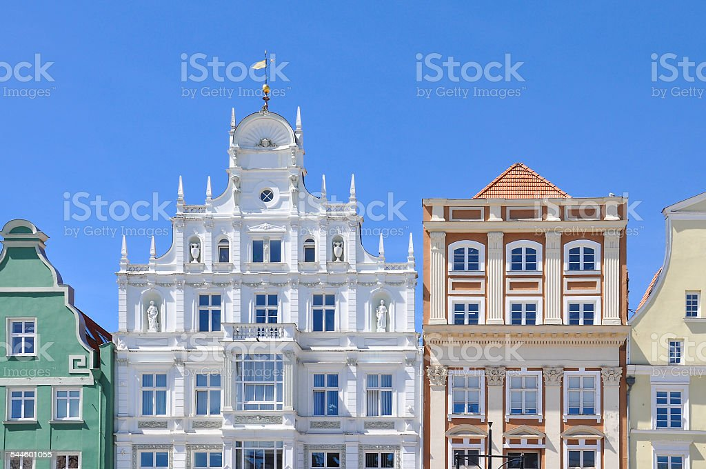 Facades of typical hanseatic houses in Rostock, Germany stock photo
