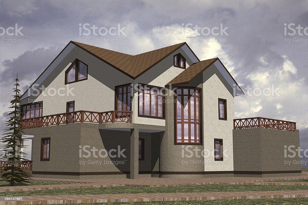 Facades storey home stock photo