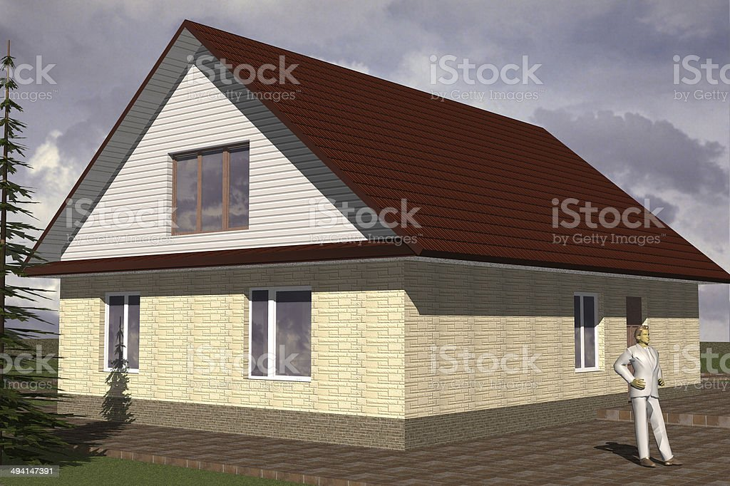 Facades storey residential building stock photo