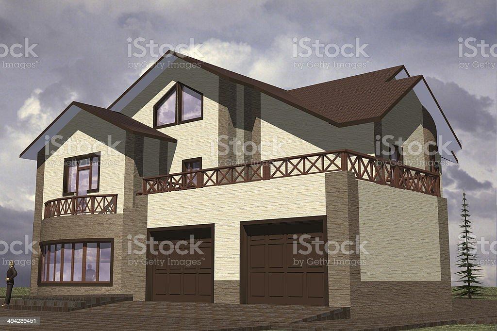 Facades storey residential stock photo