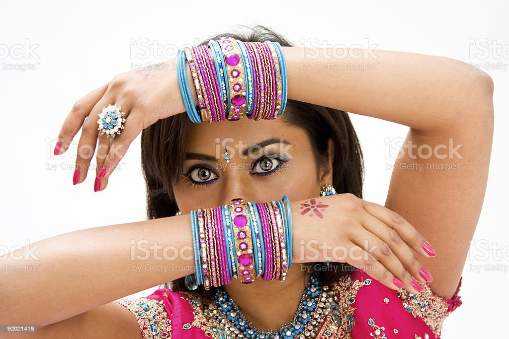Face and hands stock photo