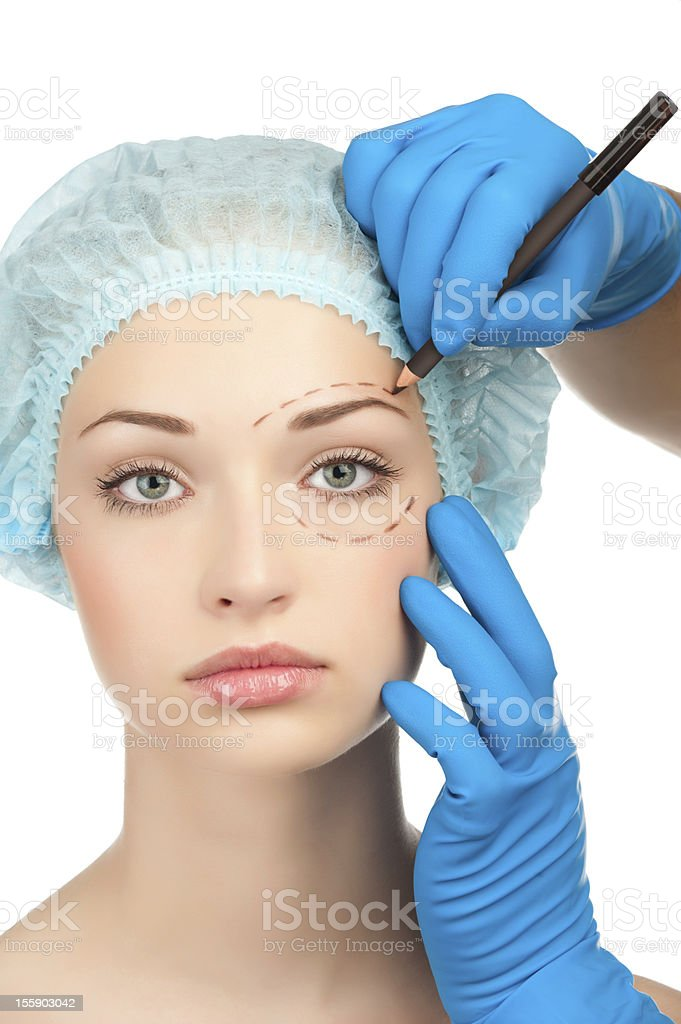 Face before plastic surgery operation royalty-free stock photo