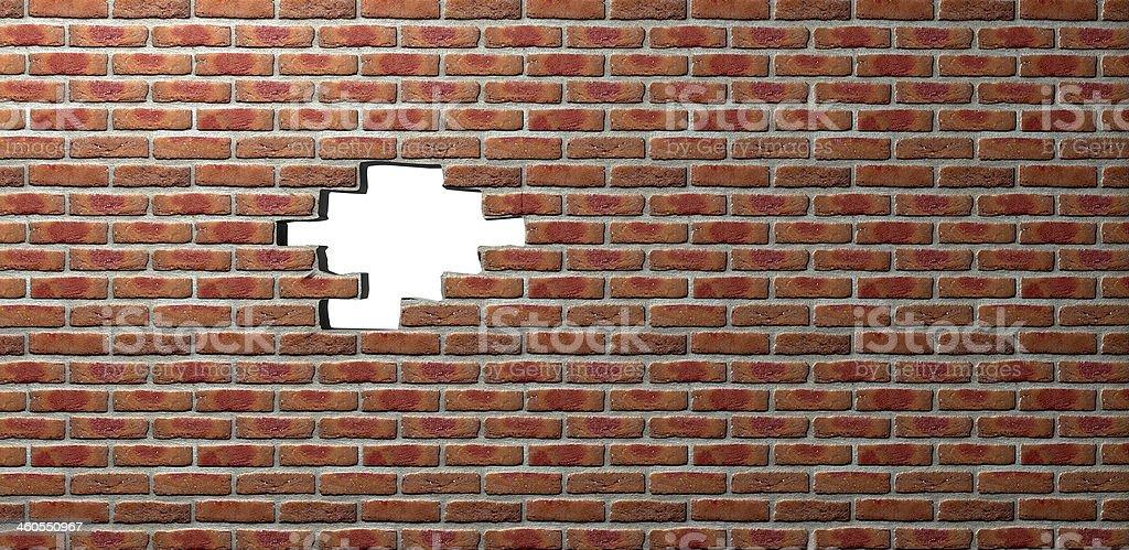 Face Brick Wall With Hole stock photo