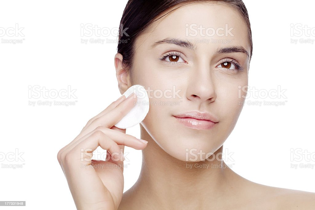 face cleansing stock photo