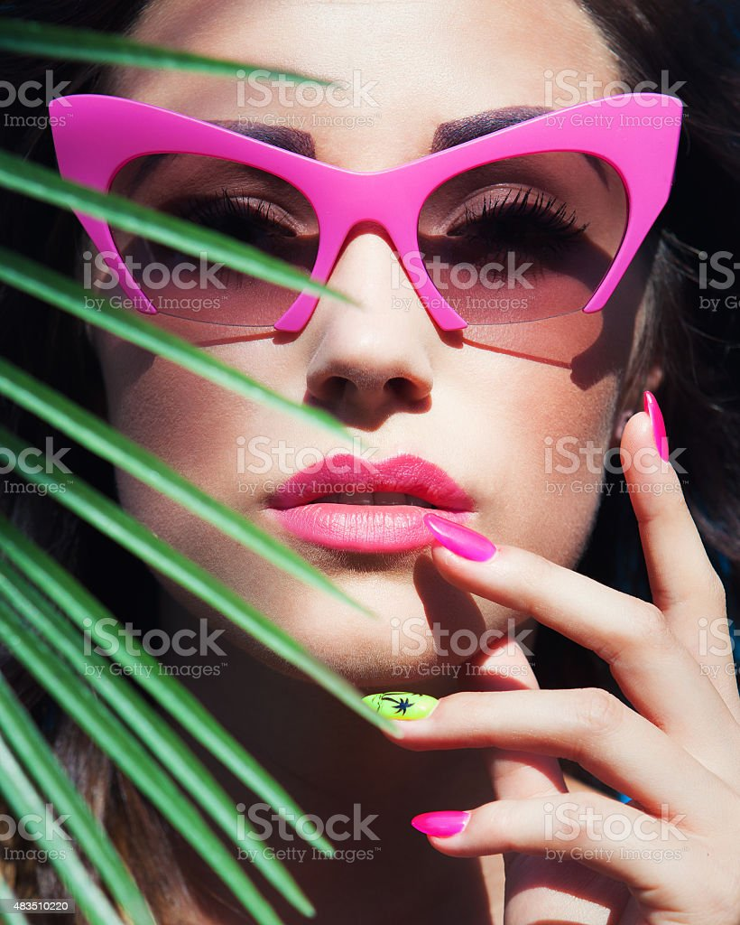Face close up of young beautiful woman stock photo